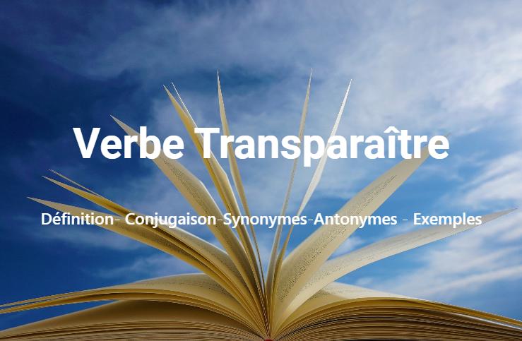 Transparaître : Définition- Conjugaison-Synonymes-Antonymes - Exemples